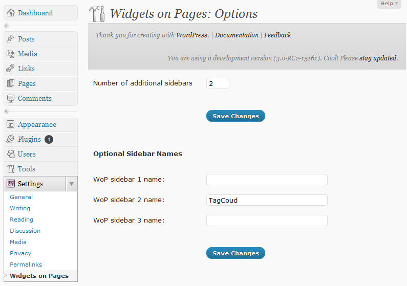 Widgets on Pages