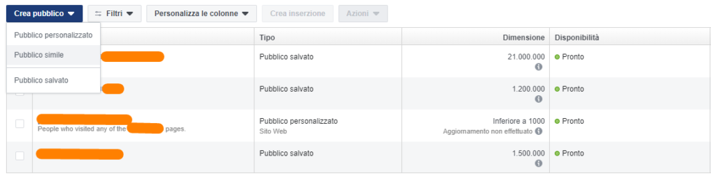 Creare lookalike audience su Facebook