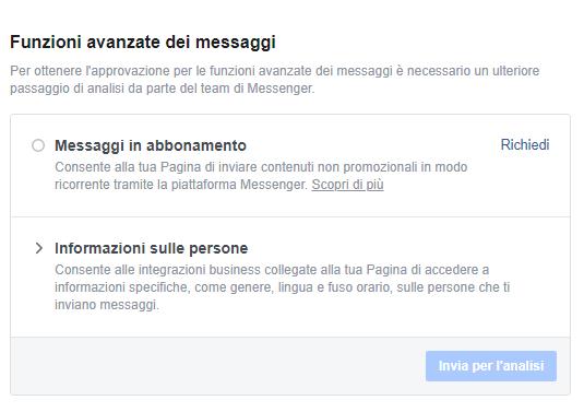 Ottenere autorizazione chatbot da Facebook