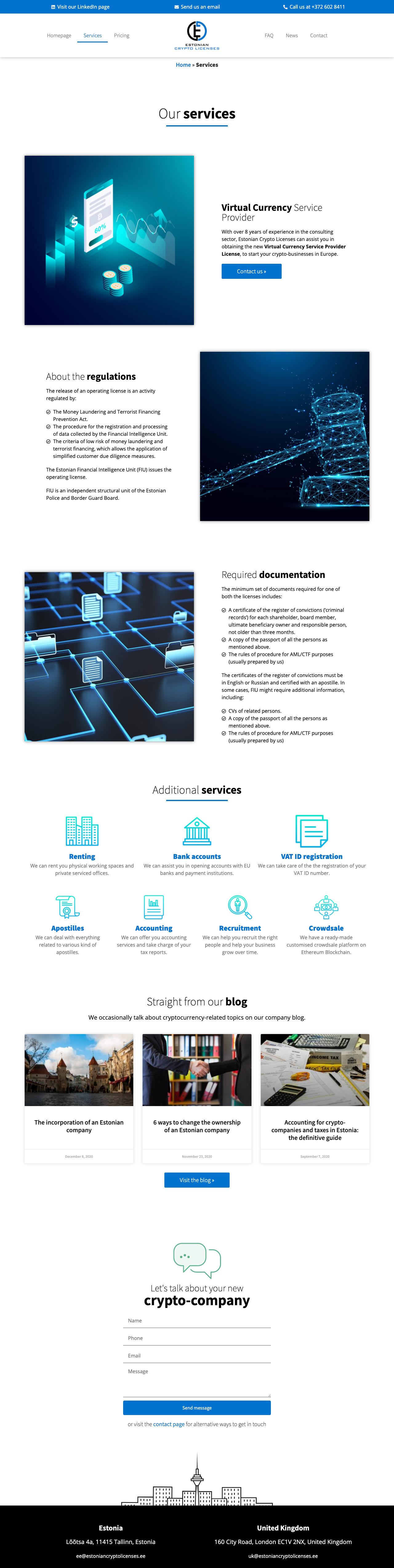 Contenuti del sito web di Estonian Crypto Licenses