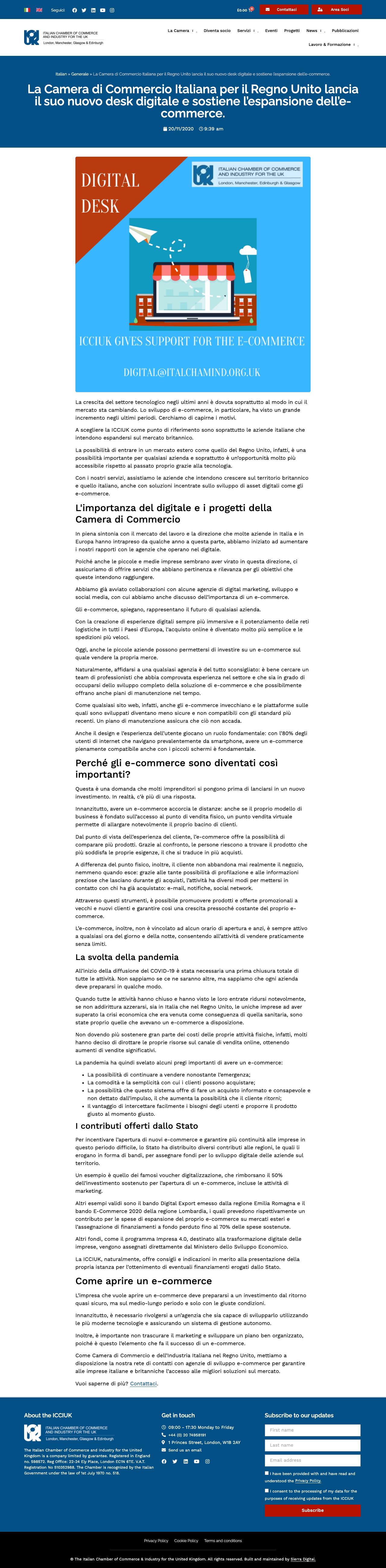 Articolo di esempio per la Camera di Commercio Italiana nel Regno Unito